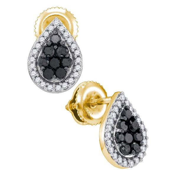 Round Black Color Enhanced Diamond Cluster Earrings 1/2 Cttw 10KT Yellow Gold