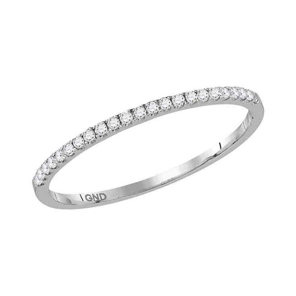 Round Diamond Timeless Stackable Band Ring 1/8 Cttw 14KT White Gold