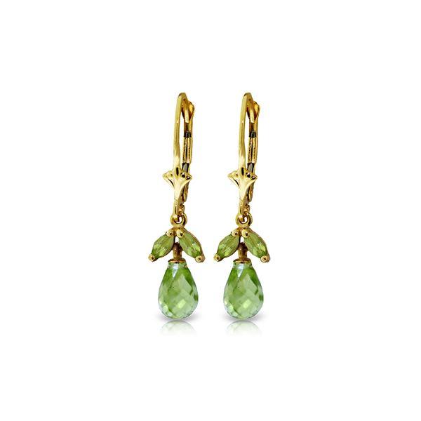 Genuine 3.4 ctw Peridot Earrings 14KT Yellow Gold - REF-26Z6N