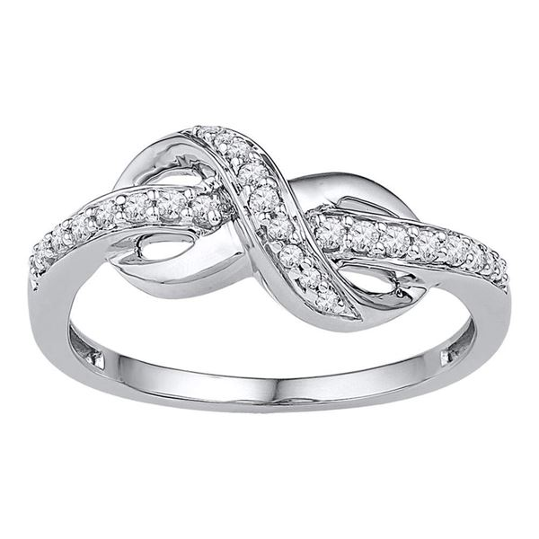 Round Diamond Knot Infinity Ring 1/6 Cttw 10KT White Gold