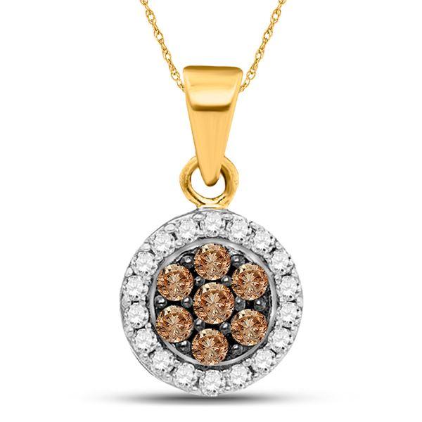 Round Brown Diamond Framed Flower Cluster Pendant 3/8 Cttw 10KT Yellow Gold