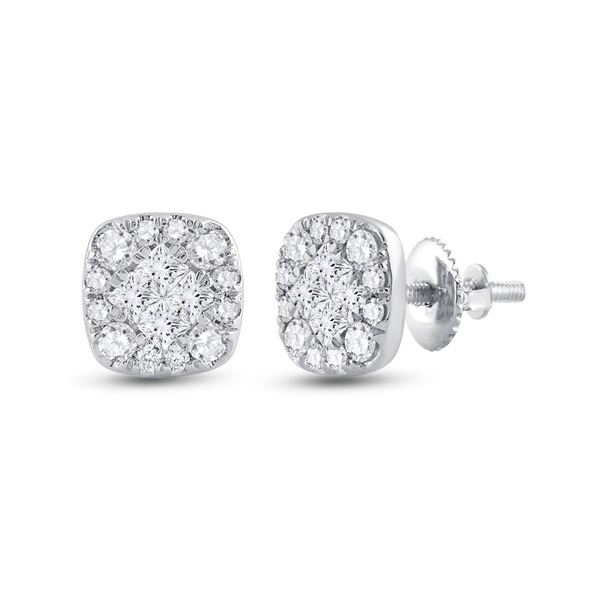 Princess Round Diamond Square Cluster Earrings 1/2 Cttw 14KT White Gold