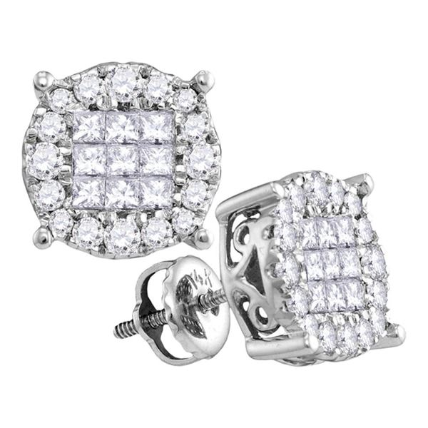 Princess Diamond Cluster Earrings 1/2 Cttw 14KT White Gold