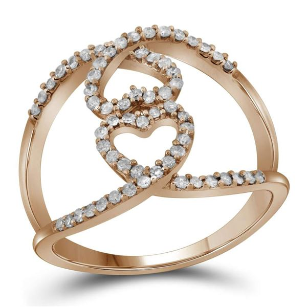 Round Diamond Open Double Heart Fashion Ring 1/3 Cttw 10KT Rose Gold