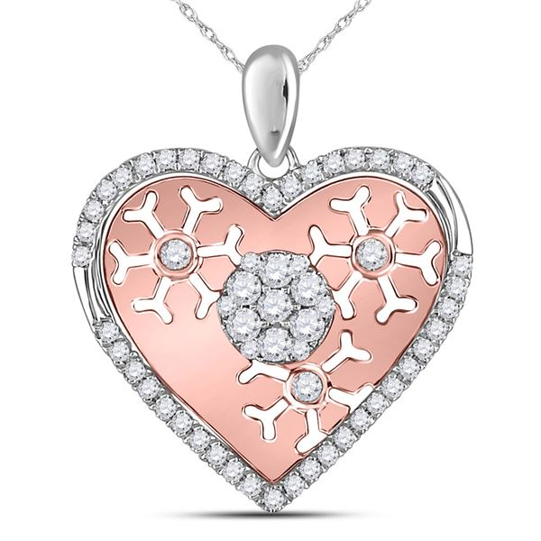 Round Diamond Cluster Heart Pendant 1/2 Cttw 14KT Two-tone Gold