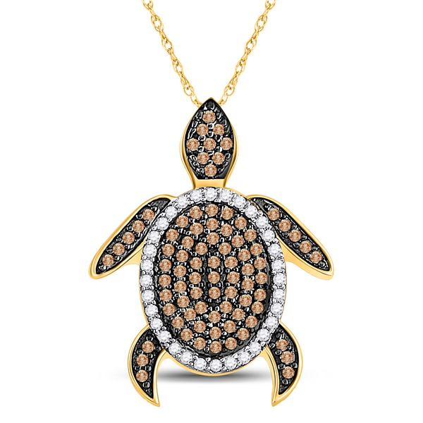 Round Brown Diamond Sea Turtle Animal Pendant 3/8 Cttw 10KT Yellow Gold