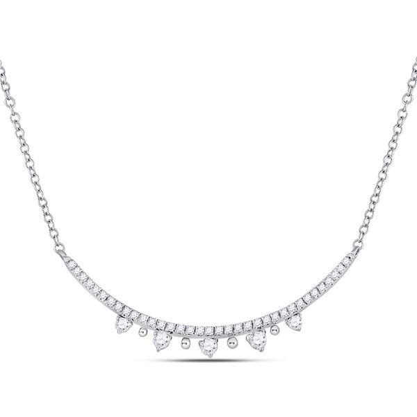 Round Diamond Modern Curved Bar Necklace 1/4 Cttw 14KT White Gold