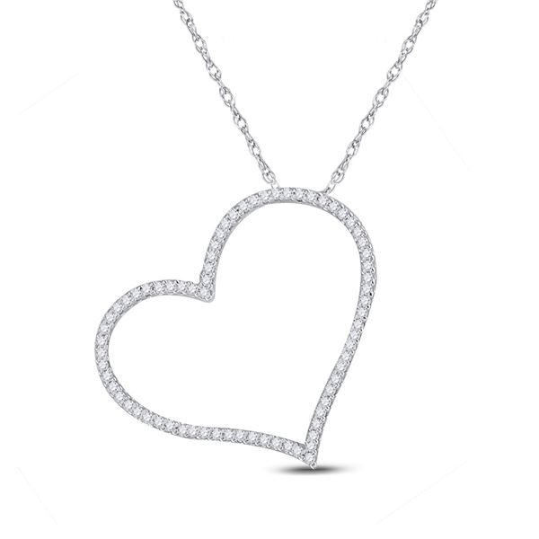 Round Diamond Heart Pendant 1/5 Cttw 10KT White Gold