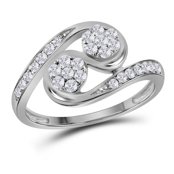 Round Diamond Cluster 2-stone Ring 1/2 Cttw 14KT White Gold