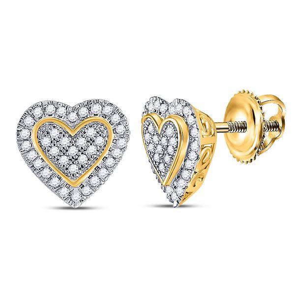 Round Diamond Heart Earrings 1/4 Cttw 10KT Yellow Gold