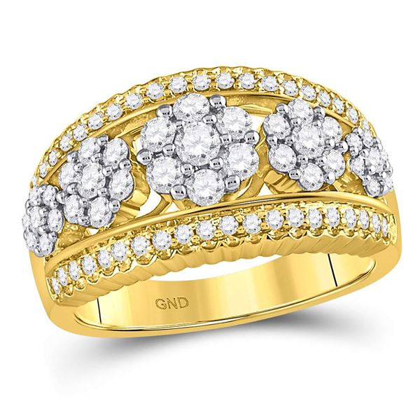 Round Diamond Flower Cluster Ring 1 Cttw 10KT Yellow Gold