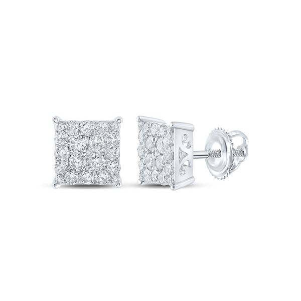 Round Diamond Square Earrings 1 Cttw 10KT White Gold