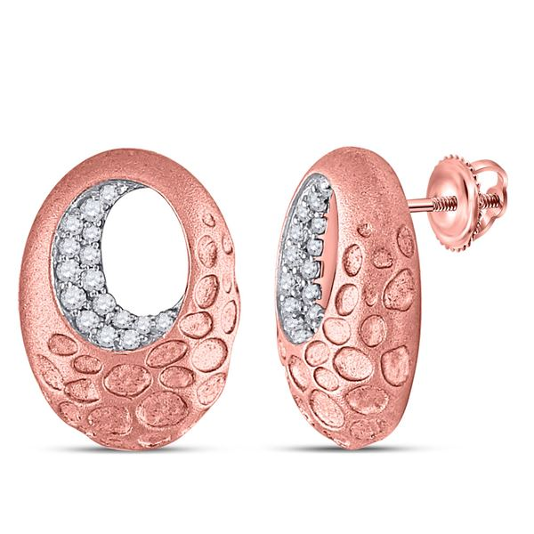 Round Diamond Pitted Oval Earrings 1/5 Cttw 14KT Rose Gold