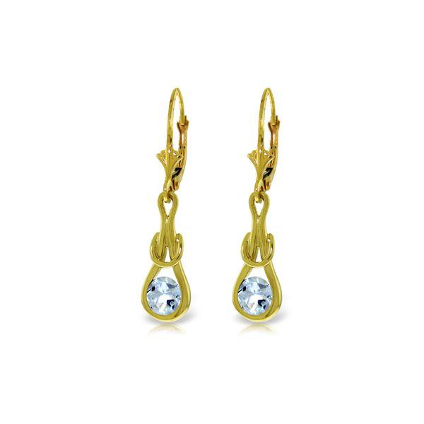 Genuine 1.30 ctw Aquamarine Earrings 14KT Yellow Gold - REF-53Y2F