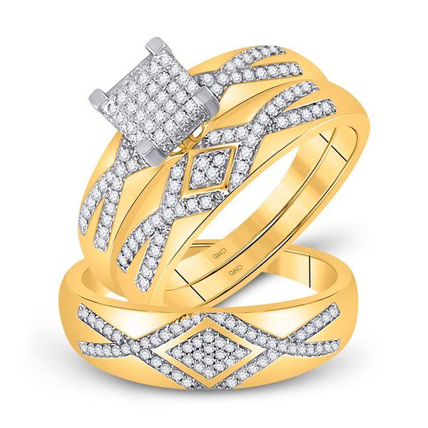 Diamond Cluster Matching Wedding Set 1/2 Cttw 10KT Yellow Gold