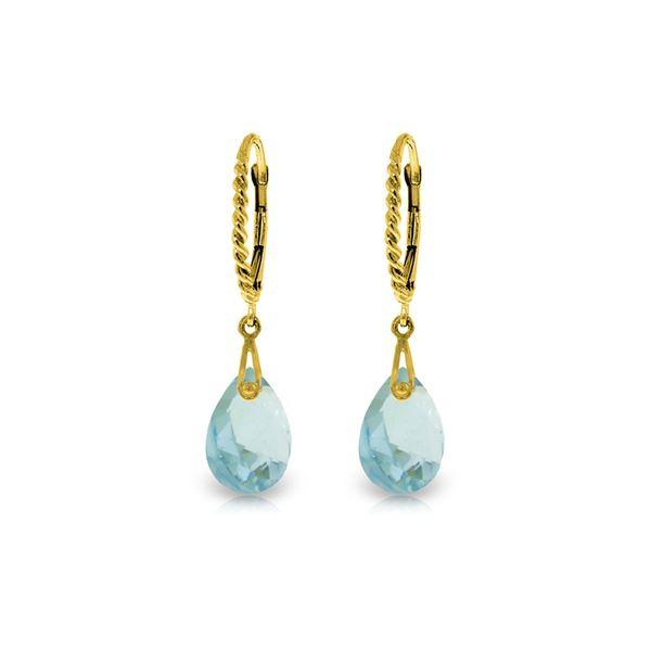 Genuine 6 ctw Blue Topaz Earrings 14KT Yellow Gold - REF-30X6M