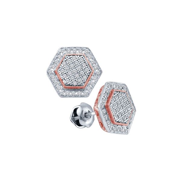 Round Diamond Cluster Rose-tone Hexagon Stud Earrings 1/3 Cttw 10KT Two-tone Gold
