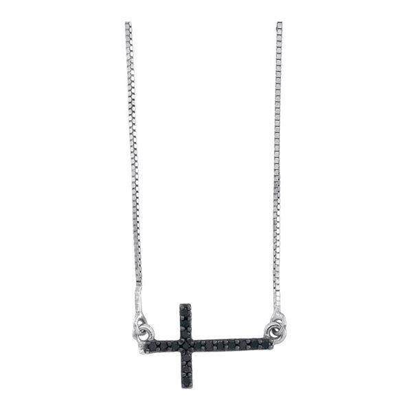 Round Black Color Enhanced Diamond Horizontal Cross Necklace 1/10 Cttw 10KT White Gold
