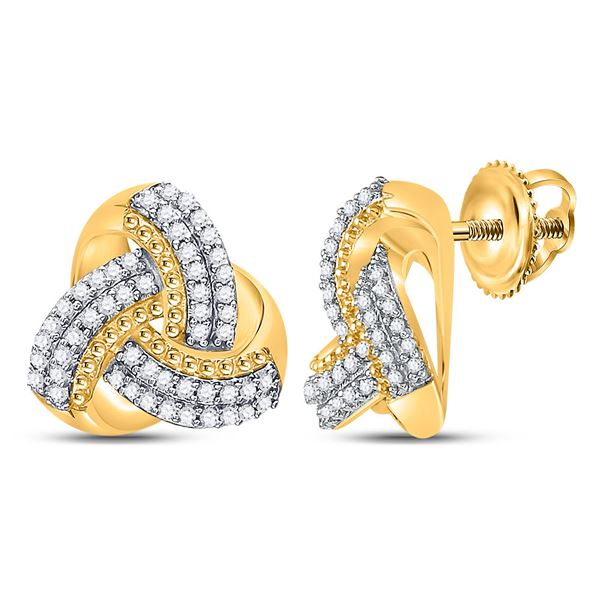 Round Diamond Celtic Knot Stud Earrings 1/4 Cttw 10KT Yellow Gold