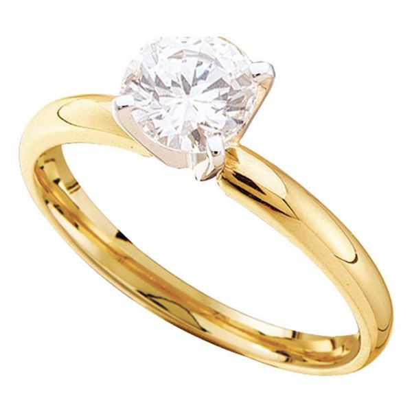 Round Diamond Solitaire Bridal Wedding Engagement Ring 7/8 Cttw 14KT Yellow Gold