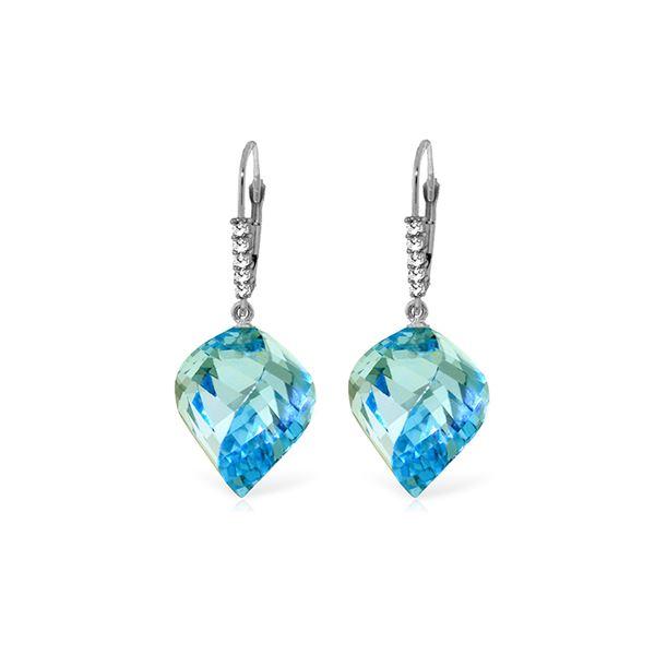 Genuine 28 ctw Blue Topaz & Diamond Earrings 14KT White Gold - REF-87F7Z