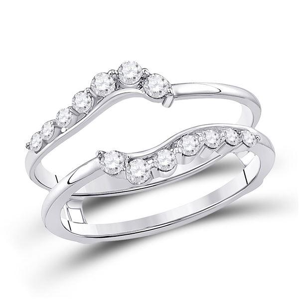 Round Diamond Journey Solitaire Enhancer Wedding Band 1/3 Cttw 14KT White Gold