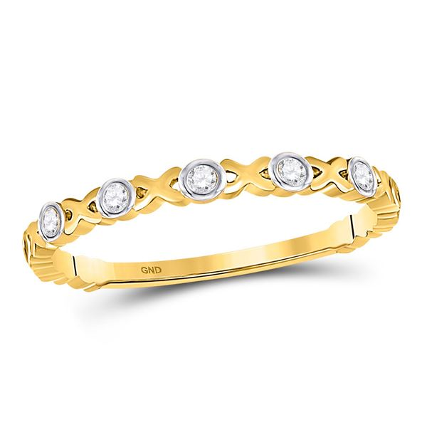 Round Diamond XOXO Love Stackable Band Ring 1/12 Cttw 10KT Yellow Gold