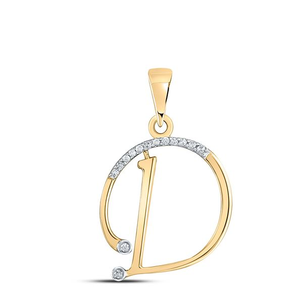 Round Diamond D Initial Letter Pendant 1/12 Cttw 10KT Yellow Gold