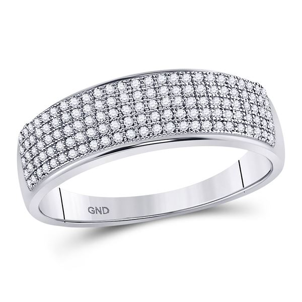 Round Diamond Wedding Pave Band Ring 3/8 Cttw 10KT White Gold