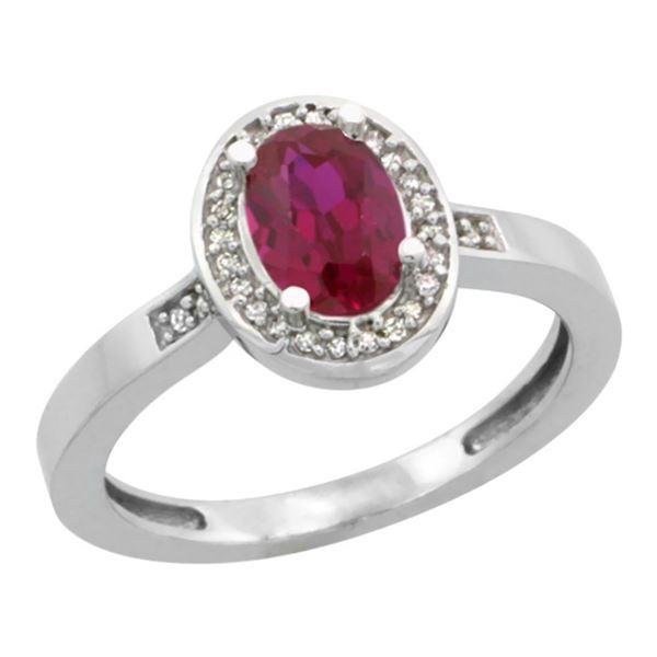 1.53 CTW Ruby & Diamond Ring 14K White Gold - REF-38M9K