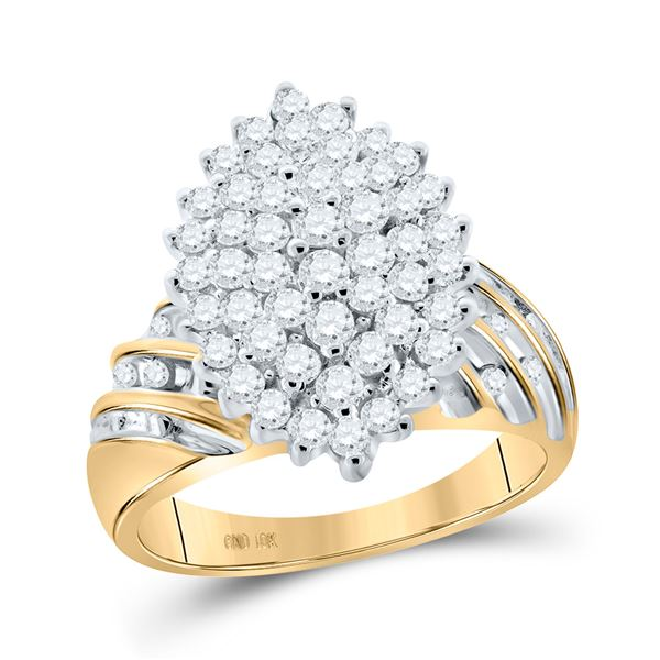 Round Diamond Oval Cluster Ring 1 Cttw 10KT Yellow Gold