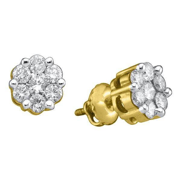Round Diamond Flower Cluster Earrings 1/2 Cttw 10KT Yellow Gold