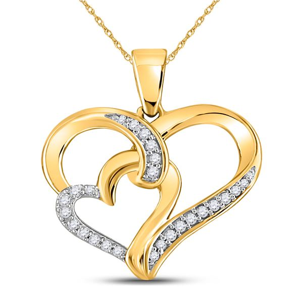 Round Diamond Double Heart Pendant 1/10 Cttw 10KT Yellow Gold