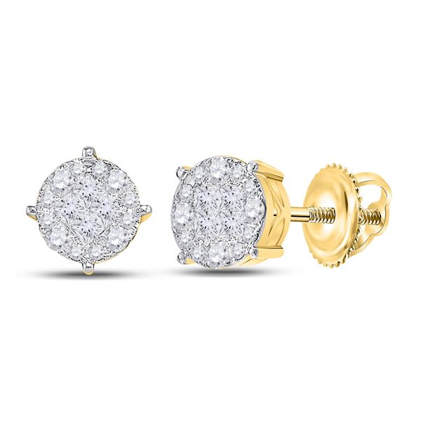 Princess Round Diamond Cluster Earrings 2 Cttw 14KT Yellow Gold
