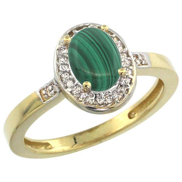 0.90 CTW Malachite & Diamond Ring 10K Yellow Gold - REF-30Y7V