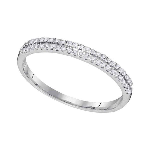 Round Diamond Slender Double Row Band 1/6 Cttw 10KT White Gold