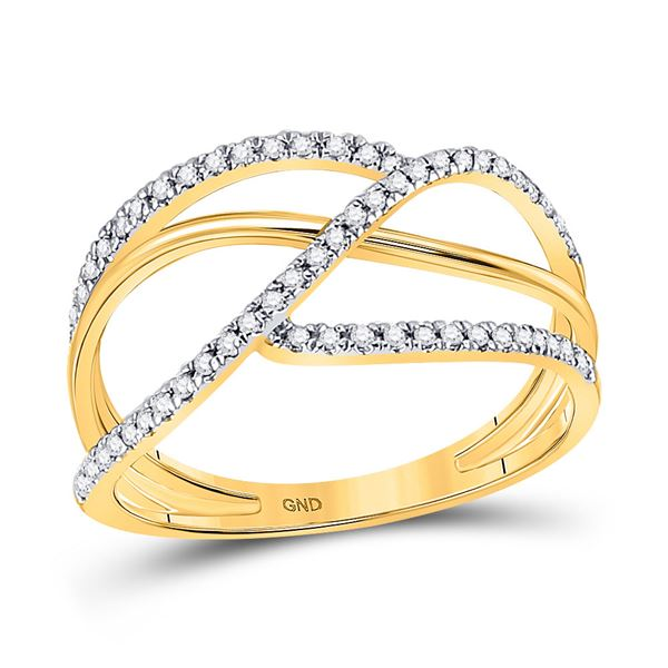 Round Diamond Open Strand Negative Space Band Ring 1/5 Cttw 10KT Yellow Gold
