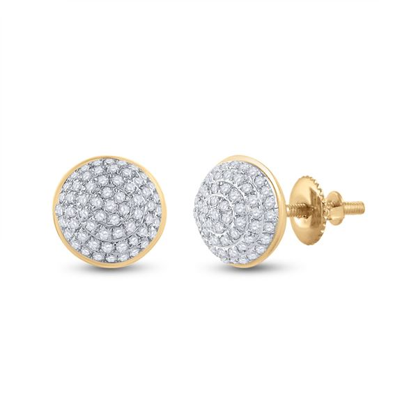 Round Diamond Cluster Earrings 1/5 Cttw 10KT Yellow Gold
