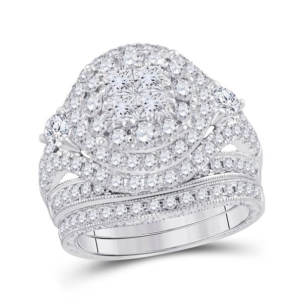 Bridal Wedding Ring Band Set 2-3/4 Cttw 14KT White Gold