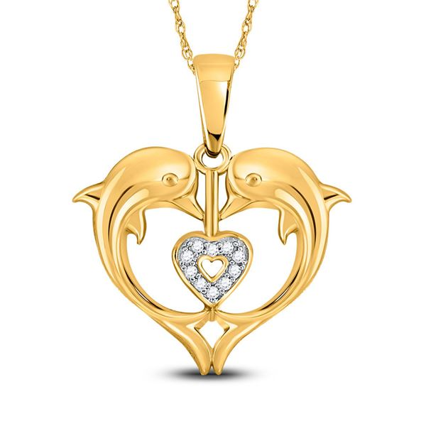 Round Diamond Double Dolphin Heart Pendant .03 Cttw 10KT Yellow Gold
