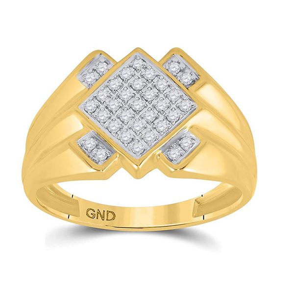 Round Diamond Diagonal Offset Square Ring 1/4 Cttw 10KT Yellow Gold