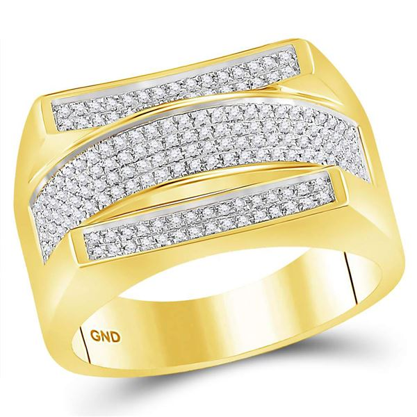 Round Diamond Dome Cluster Ring 1/3 Cttw 10KT Yellow Gold