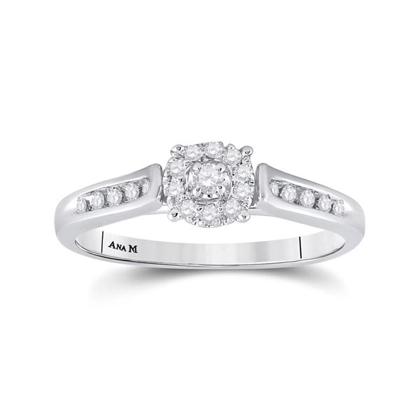 Diamond Solitaire Bridal Wedding Engagement Ring 1/8 Cttw 14KT White Gold