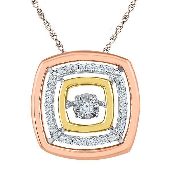 Round Diamond Square Moving Twinkle Pendant 1/8 Cttw 10KT Tri-Tone Gold