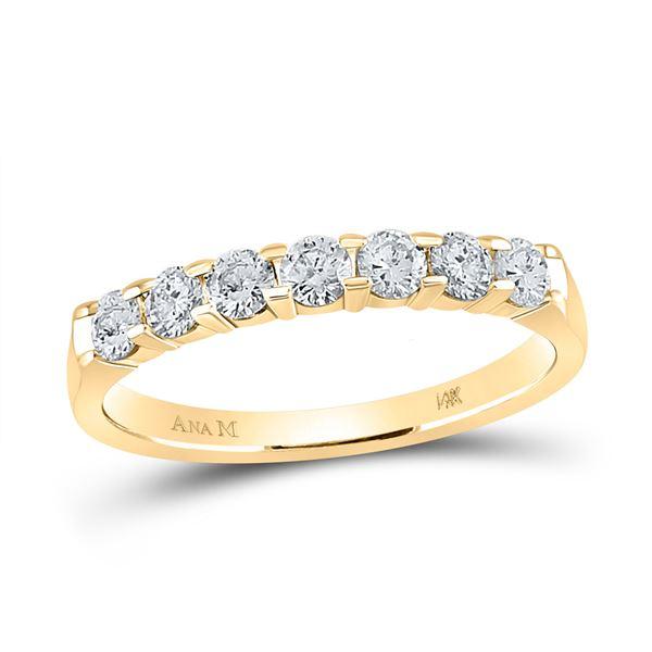 Round Diamond Wedding Single Row Band 1/2 Cttw 14KT Yellow Gold