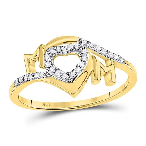 Round Diamond Heart Mom Mother Ring 1/8 Cttw 10KT Yellow Gold