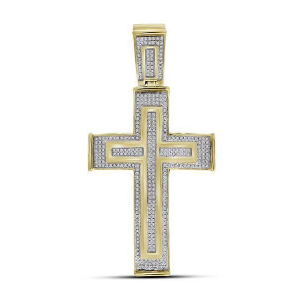 Round Diamond Cross Crucifix Charm Pendant 7/8 Cttw 10KT Yellow Gold