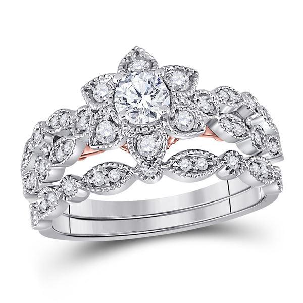 Diamond Flower Bridal Wedding Ring Band Set 3/4 Cttw 14KT Two-tone Gold