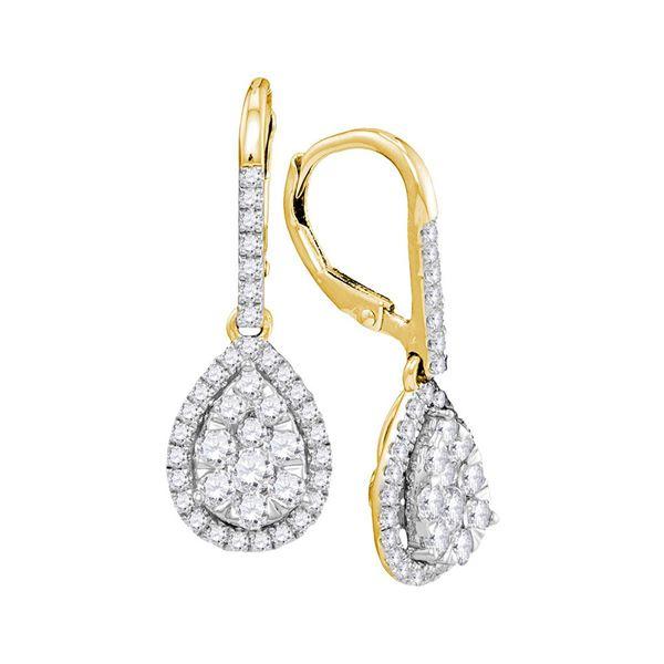 Round Diamond Leverback Teardrop Dangle Earrings 1-3/8 Cttw 14KT Yellow Gold