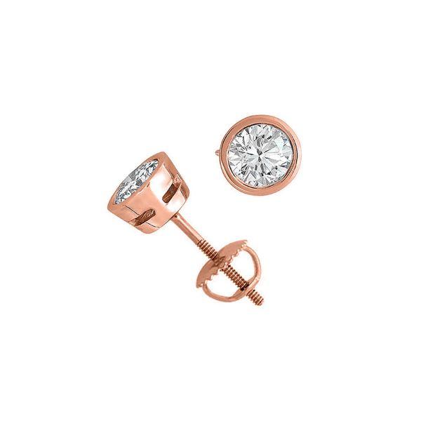 14K Rose Gold 2.03 ctw Natural Diamond Stud Earrings - REF-519M2K